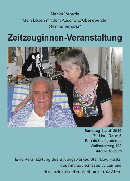 [Flyer: Zeitzeuginnen-Veranstaltung Marika Venezia